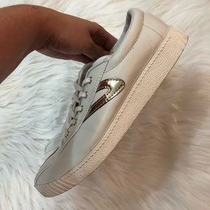 Tretorn Shoes - Tretorn Nylite 2 Plus White Gold Lace Up Sneakers
